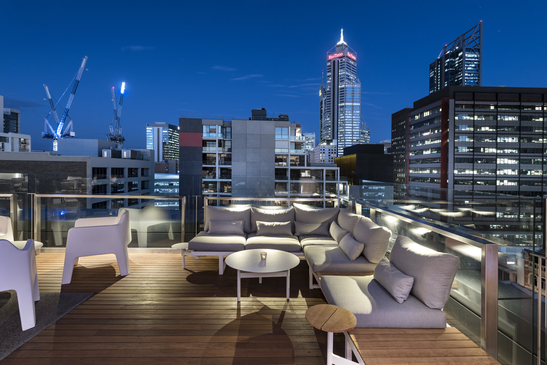Rooftop view overlooking the city from The Melbourne Hotels bar Aurora