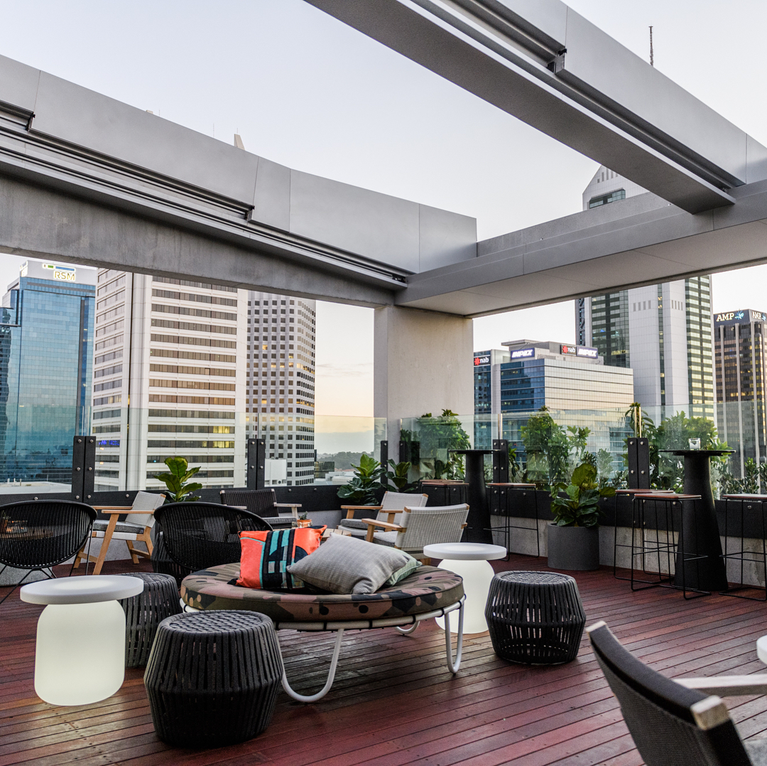 Rooftop bar at QT Hotel overlooking the Perth CBD