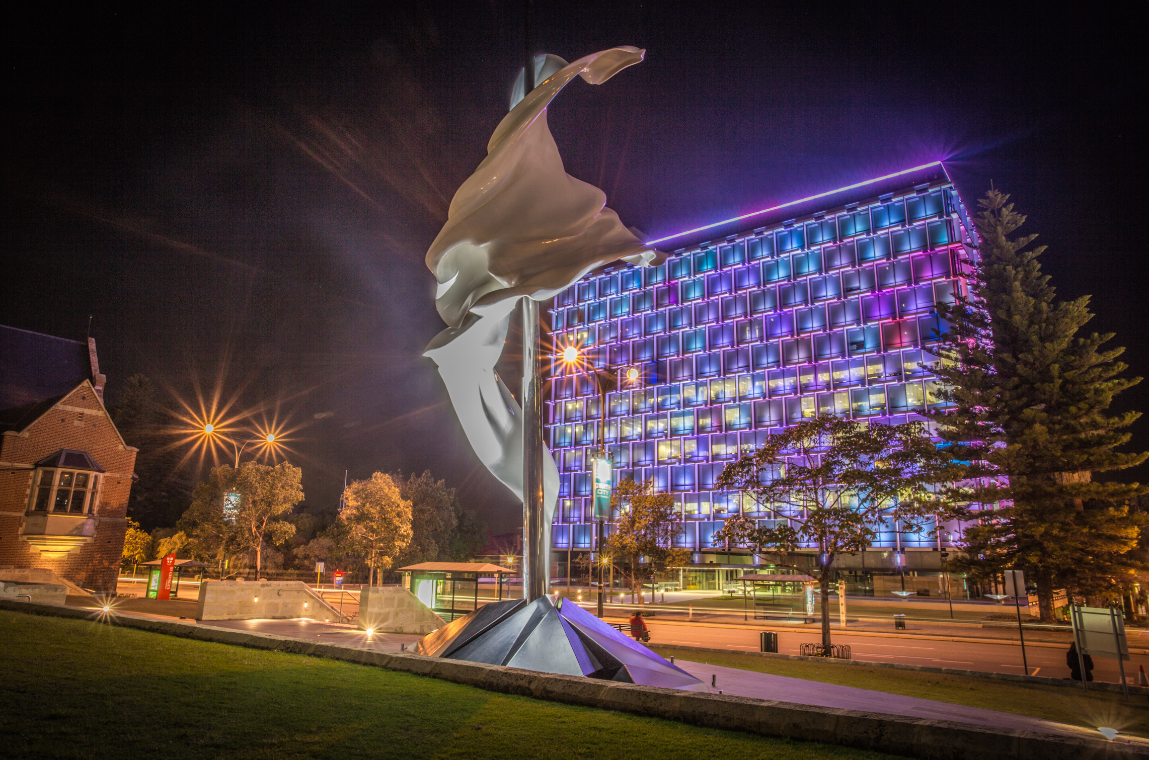 Council house light up at night