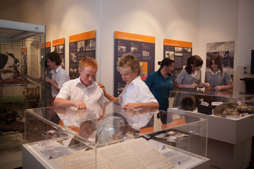 Children looking at an exhibit inside the DFES centre