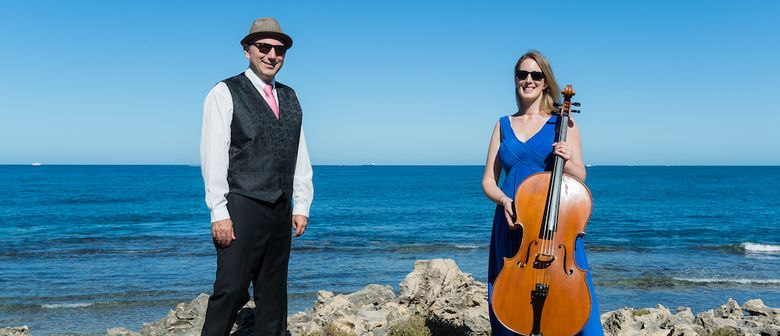 Cellist Melinda Forsythe and pianist Tommaso Pollio in front of ocean