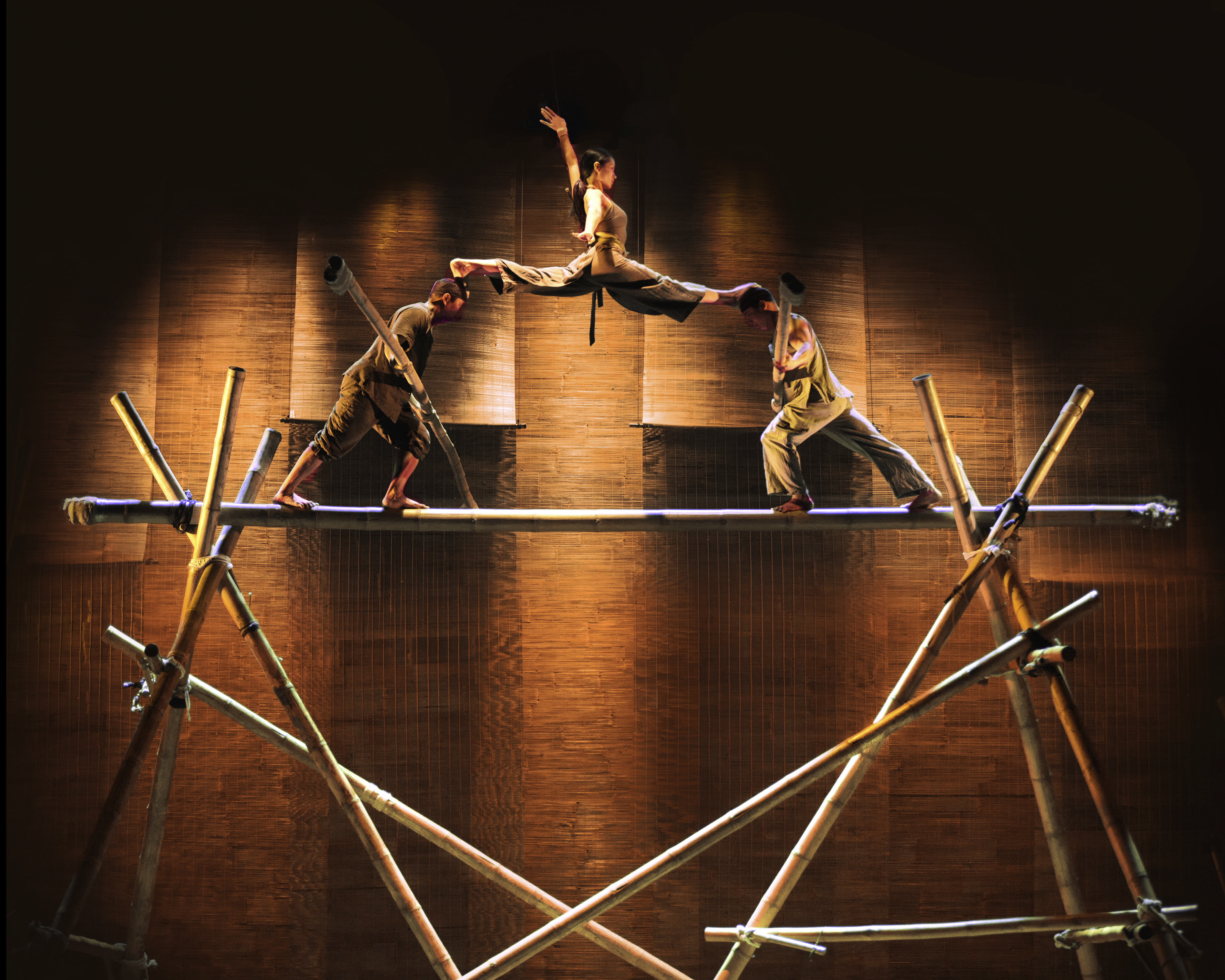 Vietnamese circus performers balancing on stage