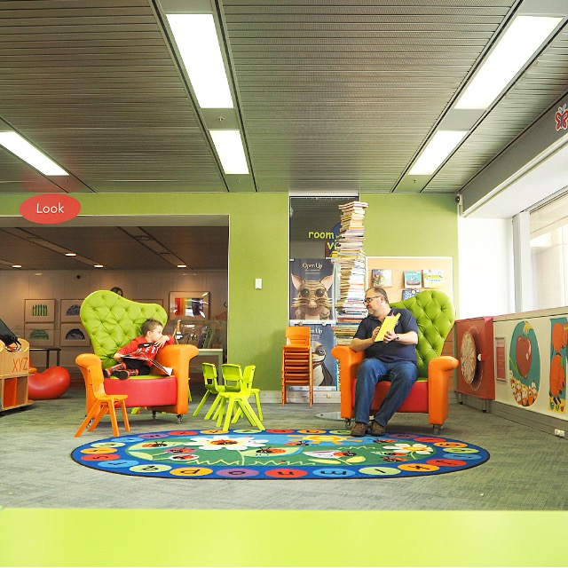 colourful childs play area and story time