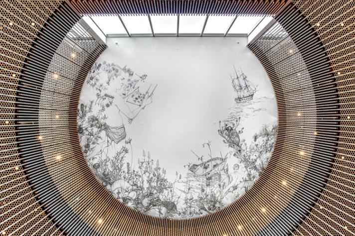 Circular artwork 'Delight and Hurt' on the ceiling of the City of Perth Library