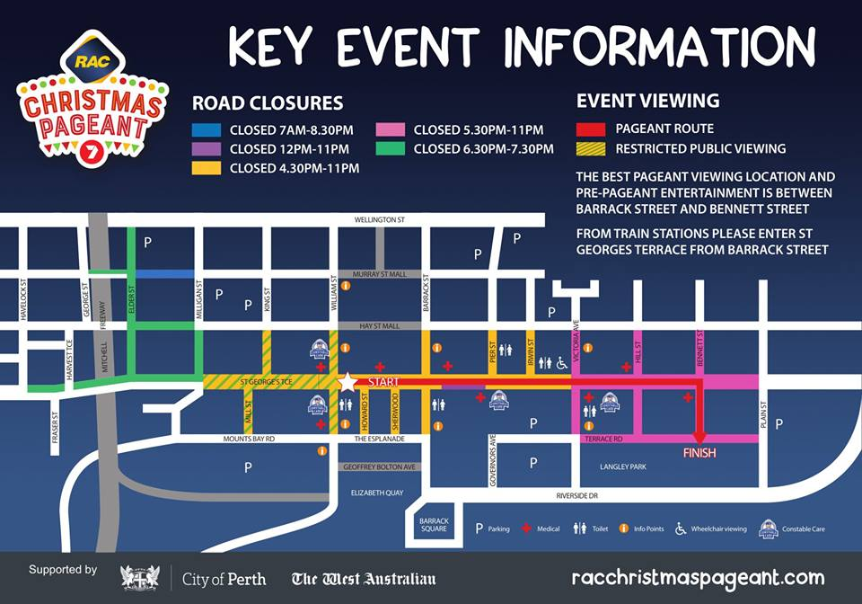 RAC Christmas Pageant road closure map 2018