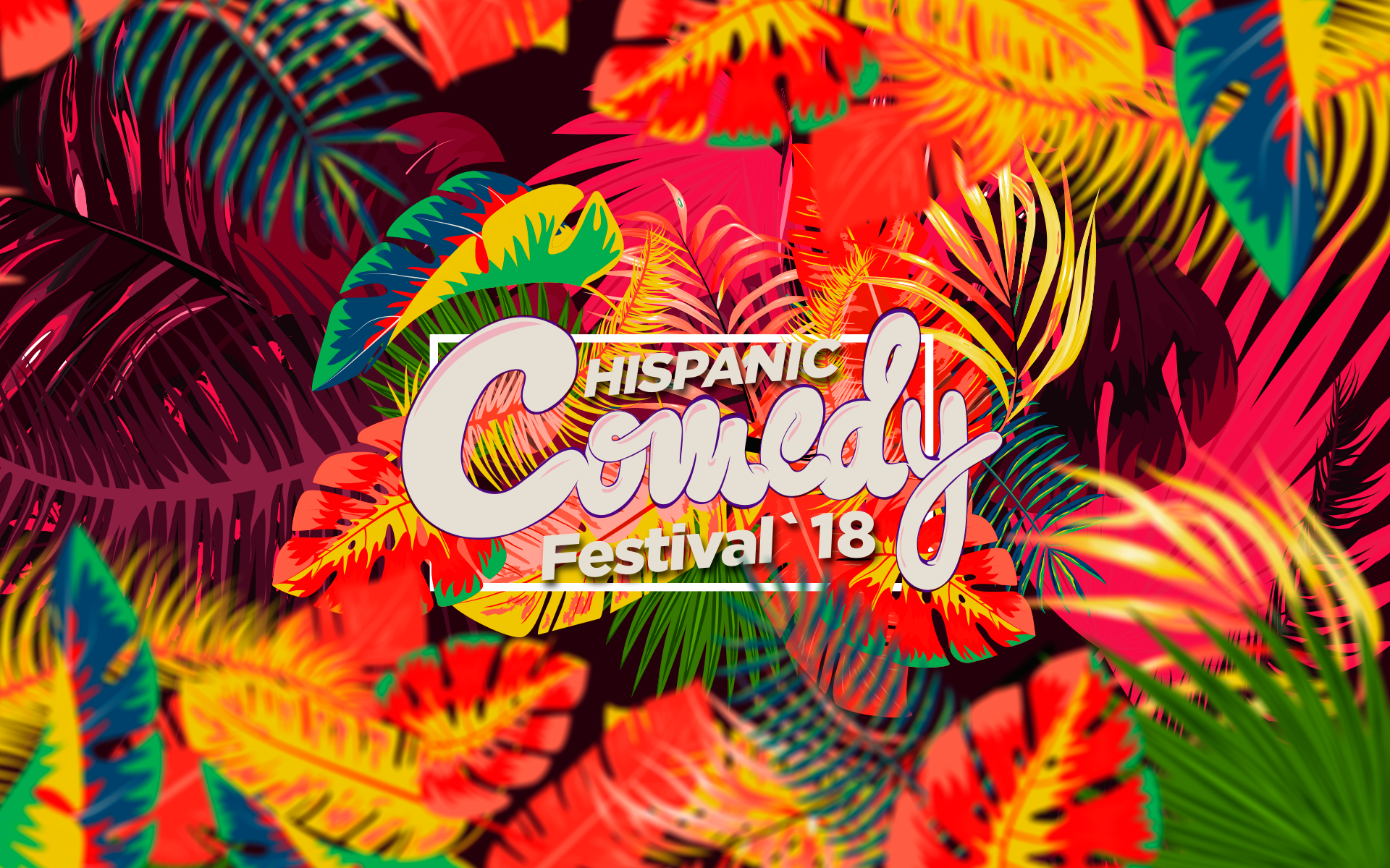 Tropical leaves and plants in neon colours
