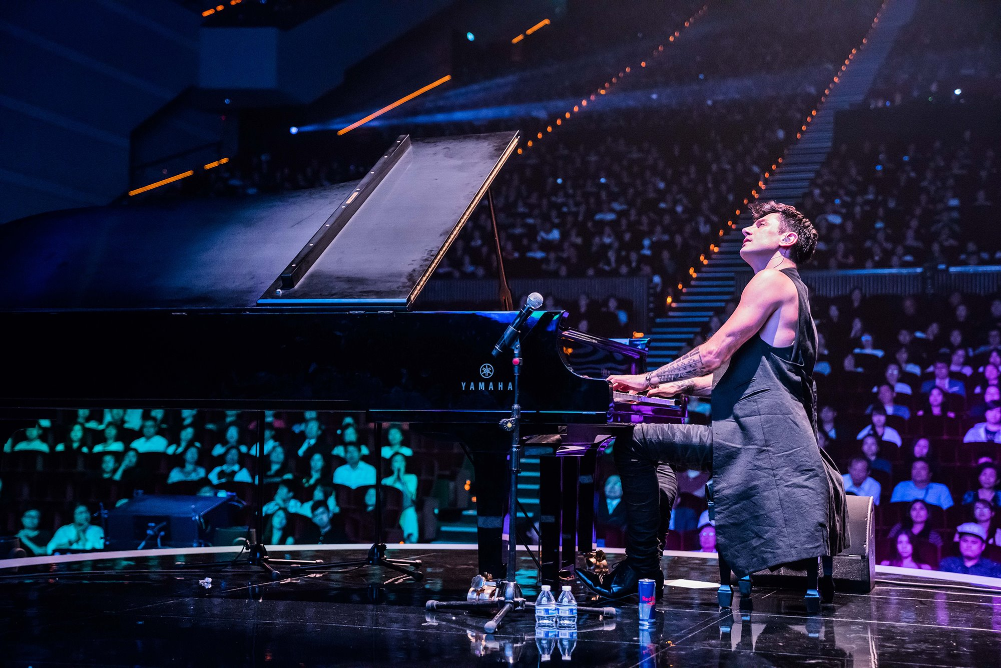Maksim Mrvica performing on the piano in from of a crowd