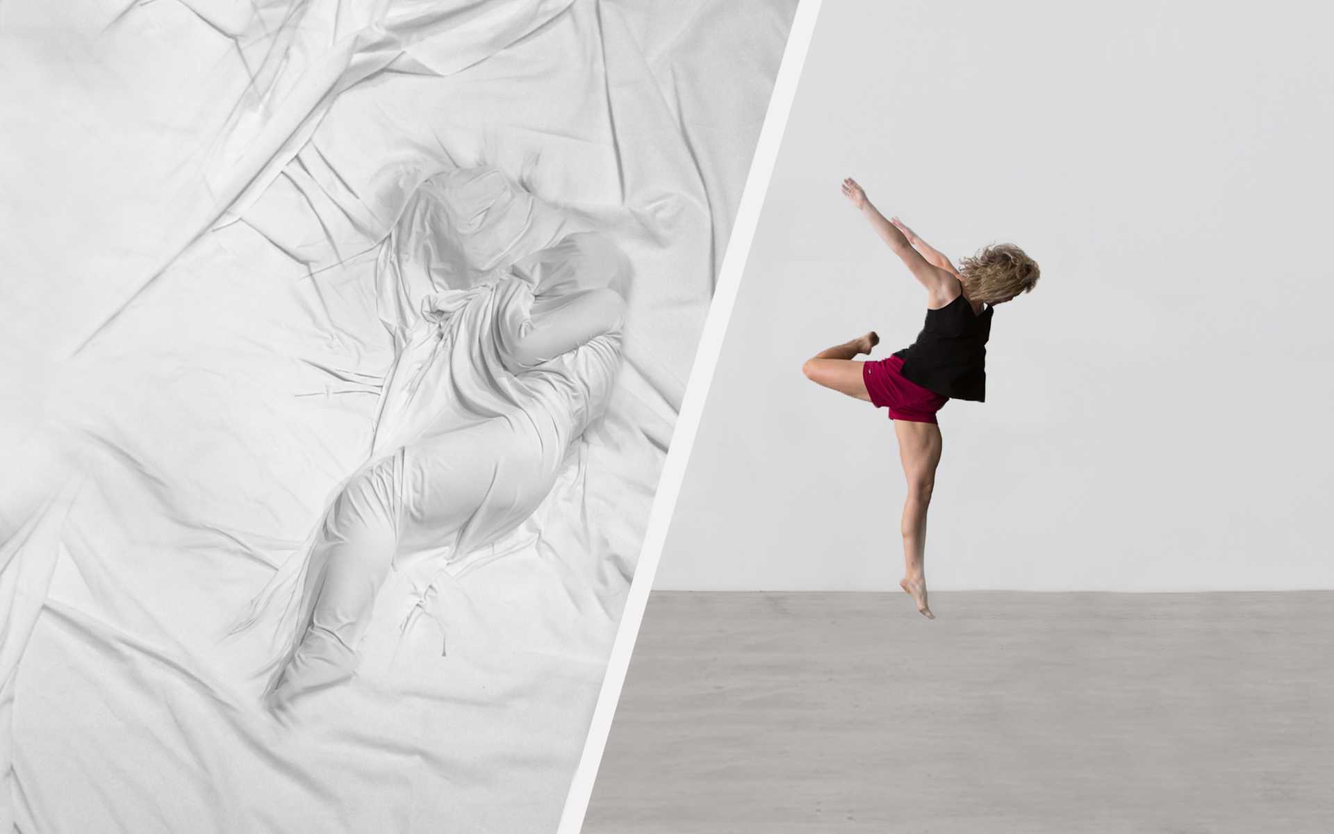 Two images next to each other. one of a women jumping and one with a body wrapped in bed sheets