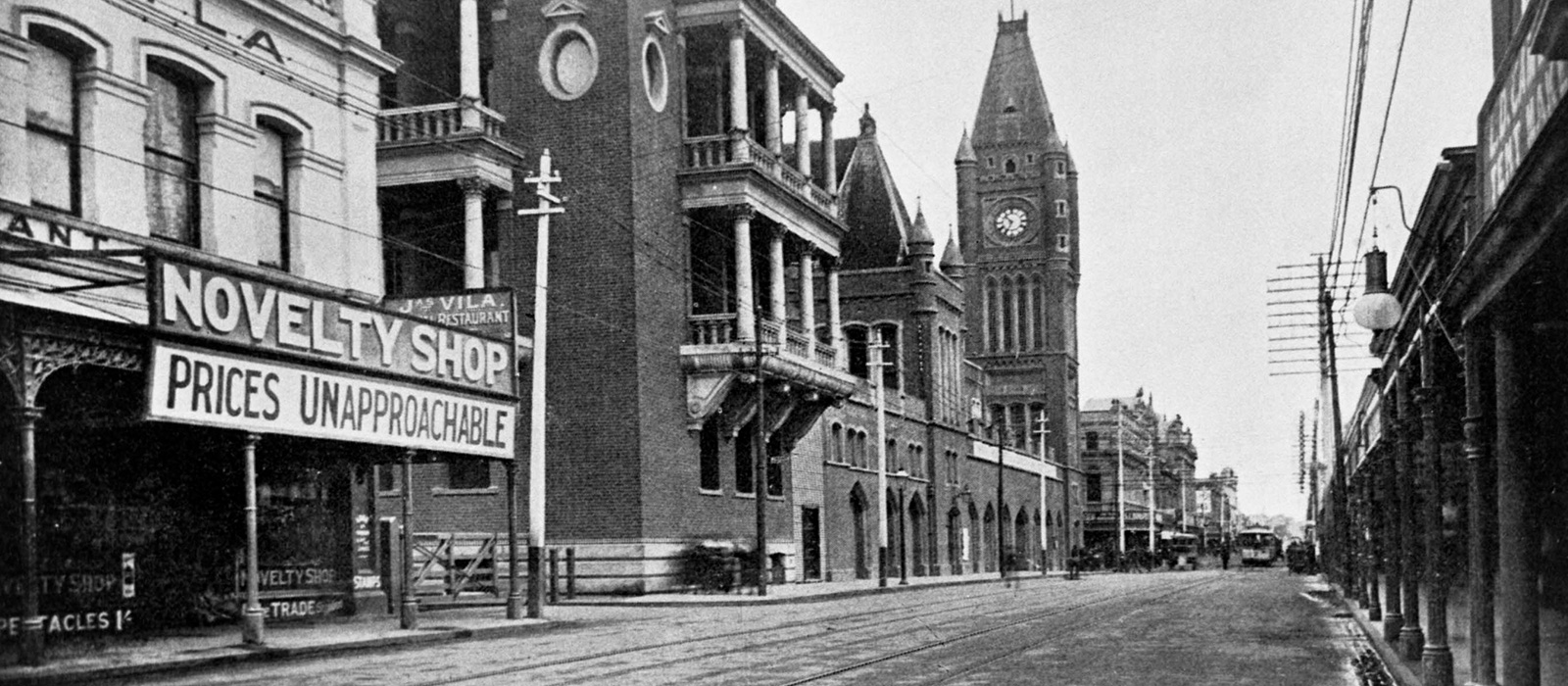 View of Hay Street looking west, showing Town Hall and jarrah wood pavement just completed, 1898