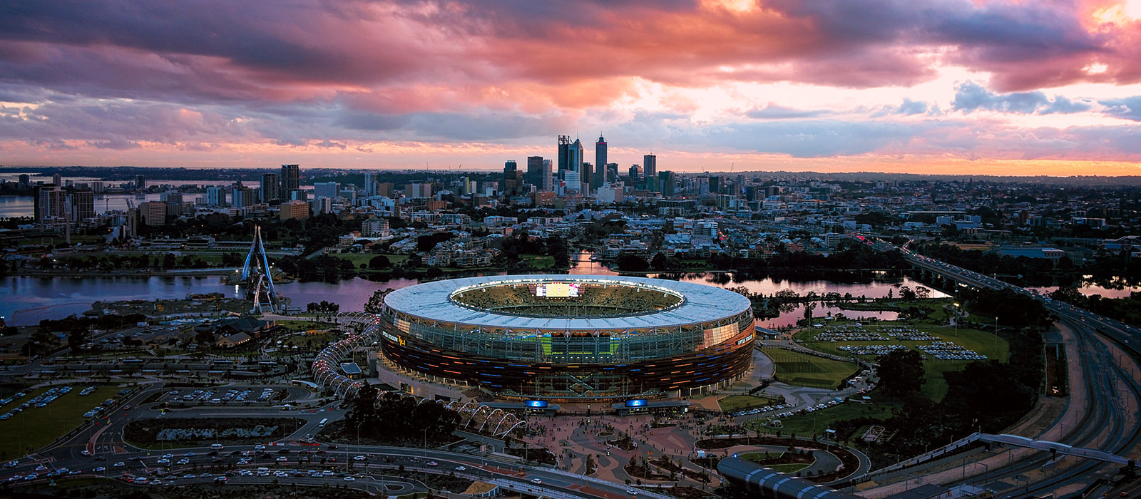 Aerial shot of optus stadium and the city